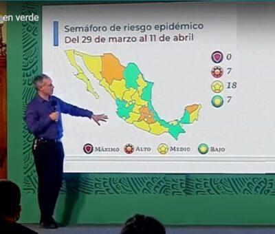 El subsecretario de Prevención y Promoción de la Salud, Hugo López-Gatell, informó que en el semáforo epidemiológico de Covid-19 hay siete entidades que ya están en color verde. (Especial)