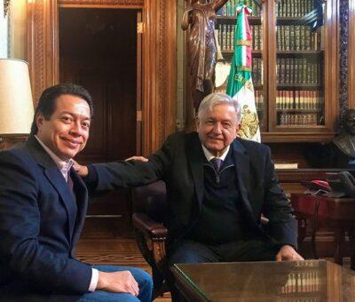 JORGE GALINDO  FRANCESCO MANETTO 24 ABR 2021 - 21:38CDT Andrés Manuel López Obrador durante una reunión con Mario Delgado en 2018.CUARTOSCURO