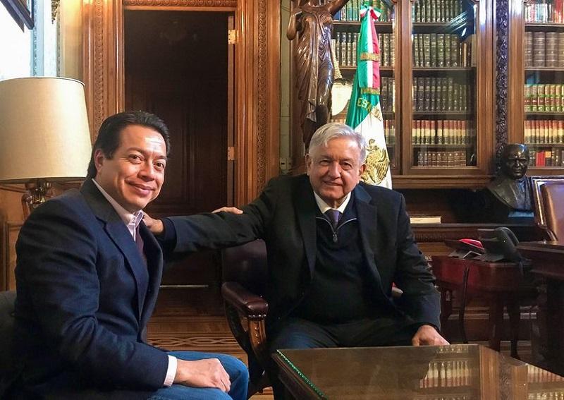JORGE GALINDO |FRANCESCO MANETTO 24 ABR 2021 - 21:38CDT Andrés Manuel López Obrador durante una reunión con Mario Delgado en 2018.CUARTOSCURO