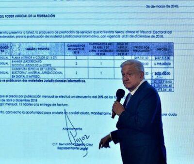 AMLO exhibe contrato del INE con Krauze por 2 mdp y otro del TEPJF con Aguilar Camín por 2.4 mdp del TEPJF con Nexos. Foto: Germán Canseco
