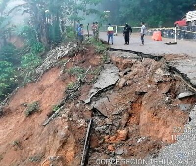 Daños del huracán 'Grace' en la Sierra Norte. (Foto Sedena)