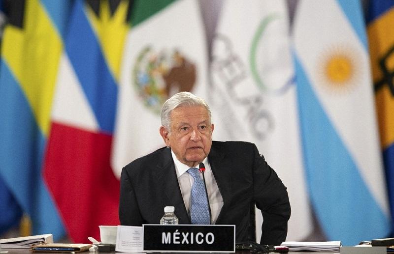 El presidente de México, Andrés Manuel López Obrador, durante la inauguración de la VI cumbre de la Comunidad de Estados Latinoamericanos y Caribeños, el 18 de septiembre de 2021. Foto AFP