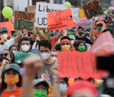 Protestan estudiantes de la UDLAP. Agencia Enfoque